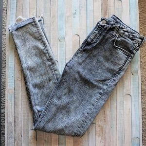 High Rise Skinny Distressed Acid Wash Gray Jeans 4